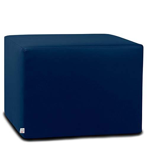 Arketicom Dado Pouf Poggiapiedi CUBO Ecopelle Sfoderabile Puff Blu Notte 55 cm