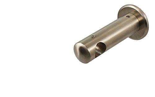 iso-design Edelstahl Wandhalter Deckenhalter für 16 mm Gardinenstangen geschlossen 6,5 cm