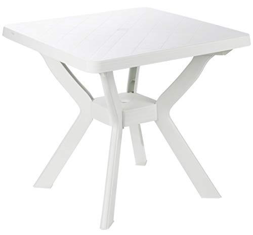 Tavolo tavolino Quadrato in Resina di plastica Bianco per Esterno Giardino Bar Campeggio Balcone