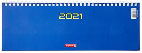 BRUNNEN 1077261031 Tischkalender/Querterminbuch Modell 772, 2 Seiten = 1 Woche, 29,7 x 10,5 cm, Karton-Umschlag blau, Kalendarium 2021, Wire-O-Bindung