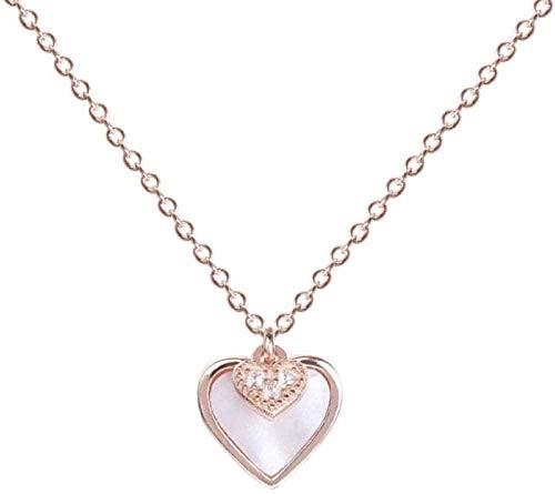 NC83 Moda S925 Collar de plata esterlina Mujeres Collar de clavícula Collares pendientes para mujeres Joyería romántica Regalo-Rose_Gold