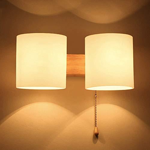 GIOAMH Aplique de pared interior de madera de doble cabezal, aplique de pared hacia arriba y hacia abajo con pantalla de vidrio, blanco cálido, enchufe E27 * 2, lámpara de pared LED para cabecera, do