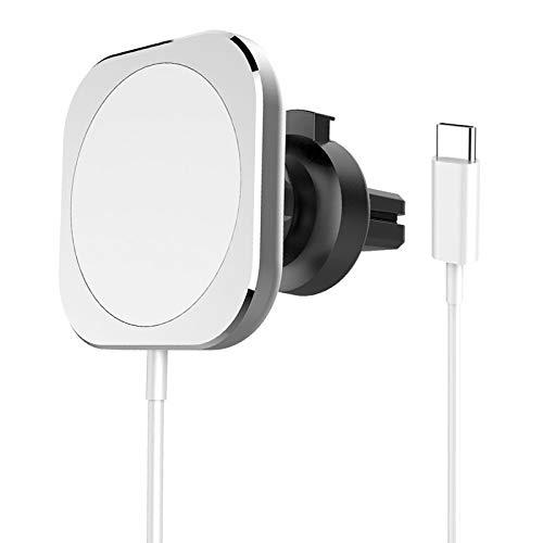IPOTCH Cargador de Coche inalámbrico magnético Compatible con 12/12 Pro/ 12 Pro MAX/ 12 Mini 15W/ 10W/7,5 W/ 5W Soporte de Cargador de Coche