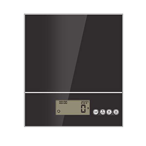 LYC Digitale keukenweegschaal, hoge precisie, 5 kg met groot platform en achterlicht LCD koken frame getemperd glas wegen eten weegschaal zwart-wit d