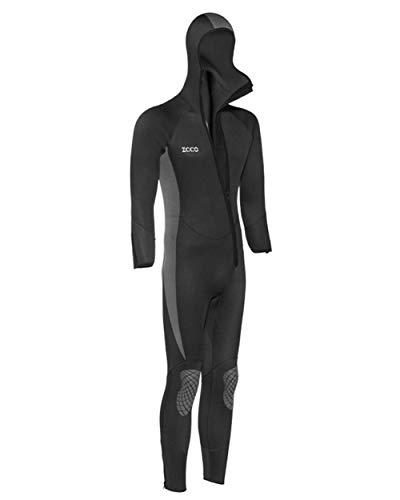 Xinsy Men's and Women's 5MM Neoprene Hooded Wetsuit, Full Body Warm Padded Knee Pads Front Zipper Diving Suit for Snorkeling Scuba Diving Swimming Surfing,XL
