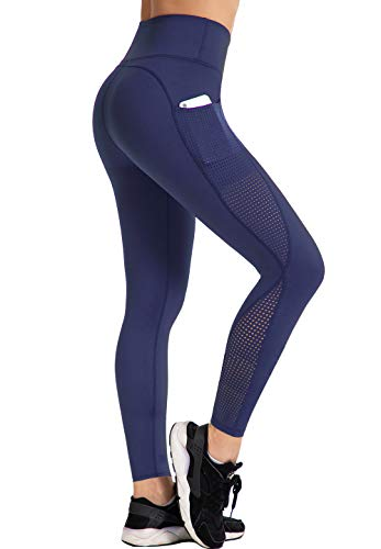 UURUN High Waisted Yoga Pants Workout Leggings for Women with Pockets Tummy Control Non-See-Through Mesh Running Compression Leggings for Exercise Fitness Gym Athletic Blue-M