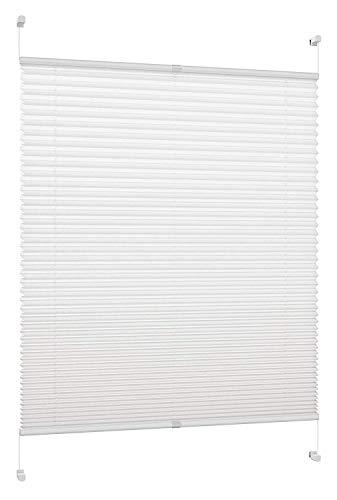 DXP Plissee Klemmfix Faltrollo ohne Bohren, Jalousie, Fensterrollo Rollo für Fenster und Tür, 100% Polyestergewebe für Blockieren Sonnen und Sichtschutz, Weiß, B70 x H125cm