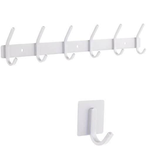 smartpeas Hakenleiste Wand-Garderobe Kleiderhaken Garderobenleiste - Weiß - Rostfreier gebürsteter Edelstahl – 6 Feste Haken halten bis 30k - Plus: 1 Selbstklebender Haken