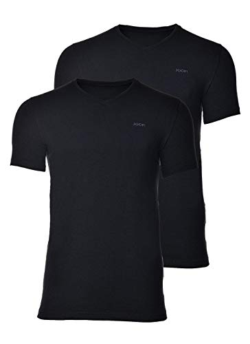 Joop! Herren Unterhemd 2er Pack - T-Shirt, V-Neck, Halbarm, Fine Cotton Stretch schwarz XXL (XX-Large)
