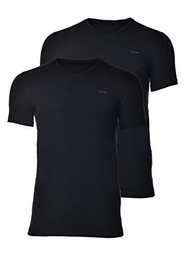 Joop! Herren Unterhemd 2er Pack - T-Shirt, V-Neck, Halbarm, Fine Cotton Stretch schwarz S (Small)