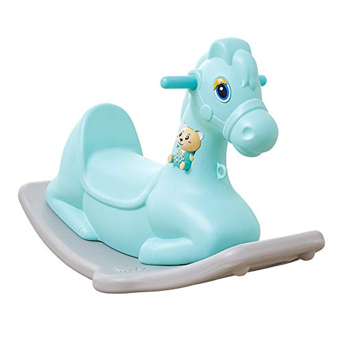Review Kibten Cartoon Baby Rocking Horse Boys Girls Kids Ride On Toy with Music, Toddler Outdoor Indoor Rocker Toy Plastic Children Traditional Toy for Nursery & Playroom (Color : Blue)