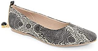KANVAS Black Ethnic Ballerinas for Women