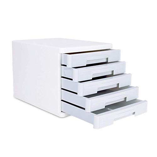 KANJJ-YU Clasificadores cajón, Mesa de Escritorio de Oficina cajón del Armario 5 Capas de Datos de Office Periódico Bastidores Suministro de Materia ordenada Periódico Bastidores-ABS portátil (Blanco
