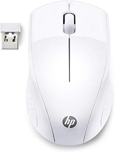 HP 220 Mouse Wireless, Tecnologia LED Blu, Sensore Ottico da 1300 DPI, 3 Pulsanti, Rotella di Scorrimento Integrata, Impugnature Pratiche e Funzionali, Ricevitore Nano Incluso, Design Moderno, Bianco