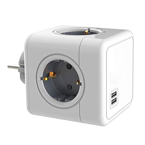 Xiaomu Adaptador de viaje con forma de cubo con USB, enchufe europeo sin cable para enchufe tipo C, ahorro de espacio, para cocina en casa