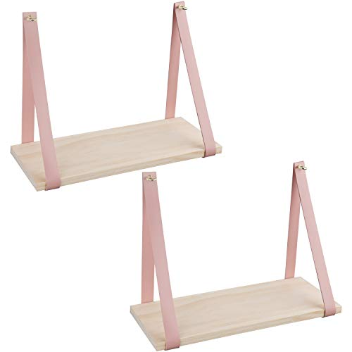 Homewell Set of 2 Cube Floating Shelves, Wood Wall Shelves for Home Decoration, Storage Display Rack, White+Pink.