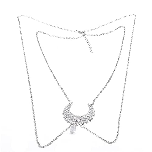 XKMY Cadena de cabeza con cadena gótica multicapa para mujer, Moon Wizard, borlas de cristal con accesorio para la frente (color metálico: blanco)