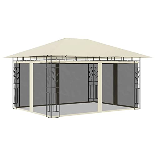 vidaXL Cenador con Mosquitera Toldo Parasol Marquesina Pabellón Carpa Gazebo de Jardín Aire Libre Terraza Exterior Fiestas Eventos Crema 4x3x2,73 m