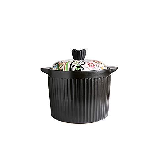 Guisar Un Pollo Entero,Calor-Resistente Grande Olla De Barro Cocotte Olla para Sopa Hot Pot,para Fogones Llamas,7.3QT Grande Japonés Cerámica Cazuela-Blanco y Negro 31.4x27cm(12x11inch)