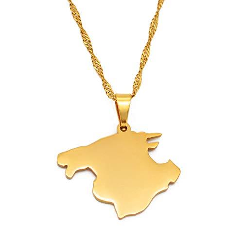 FEELHH Collar De Mapa,Mallorca España Mapa Colgante Collar, Unisex Moda Étnico Encanto Oro Colgante Cadena Joyería, Hombres Mujeres Regalos Patrióticos Personalizado Accesorio De Ropa, 60 Cm Cadena