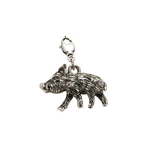 Alpenflüstern Trachten-Anhänger Wildschwein für Charivari oder Trachtenkette antik-Silber-Farben AAH176