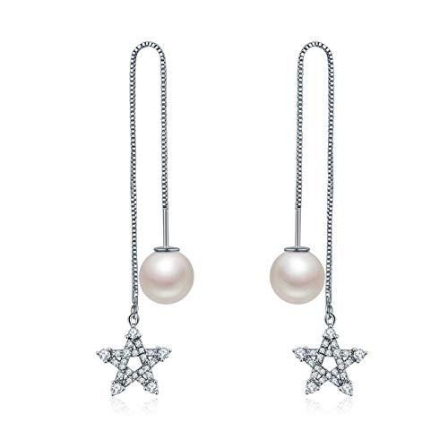 KFYU Oído Perla Hembra línea de la Oreja Larga circonio Diamante Redondo Estrella Pendientes Bricolaje Partido
