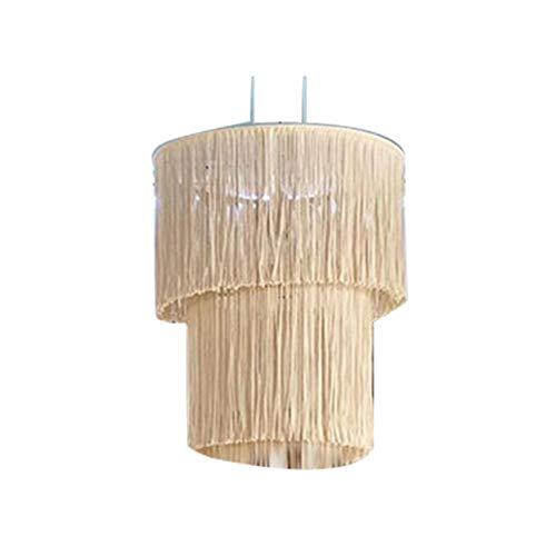 Foliner Pantalla de lámpara de Punto de Cuerda de algodón para Colgar lámpara, decoración Tejida a Mano para Sala de Estar, Dormitorio, Boda