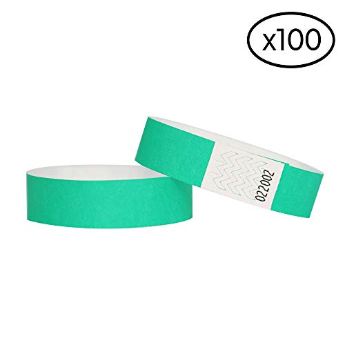 100 Papier-Armbänder aus Tyvek, 19 mm für Events, Festivals, reißfest und personalisierbar, in 12 Farben erhältlich 19mm aqua