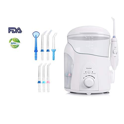KLI Wasserflosser, Zahnflosser für Zähne mit 7 Strahldüsen und 600 ml-Reservoir, 5 stufenloser Wasserdruck-Munddusche für die Zahnreinigung