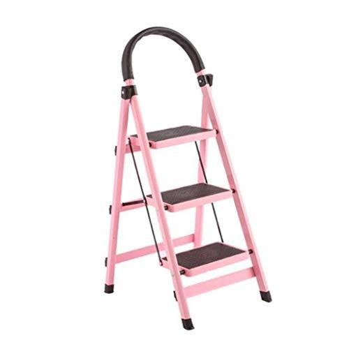 Huahua Meubilair Opvouwbare Stap Ladder, 3 Trappen Kruk - Aluminium Vouwladder, Draagbare Voetstoel, Geschikt voor Huishoudelijke Tuin Kantoor Trapladder