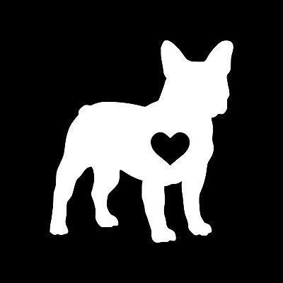 Frenchie Dog Silhouette with Heart NOK Decal Vinyl Sticker |Cars Trucks Vans Walls Laptop|White|4.5 x 4.0 in|NOK188