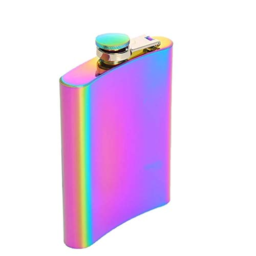 YKW Portátil 8oz Cadera matraz Arco Iris de Color Inoxidable Acero Inoxidable matraz Tapa Tapa Whiskey Botella de Vino Novio Regalo