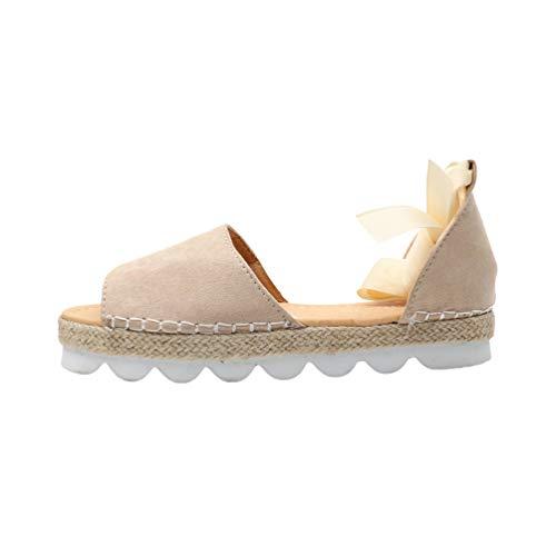 Baijiaye Mujer Sandalias Plataforma Tacones Altos Sandalias Sandalias de Paja Sandalias Elegant Comfort Sandalias de Verano Correa de Tobillo Peep Toe