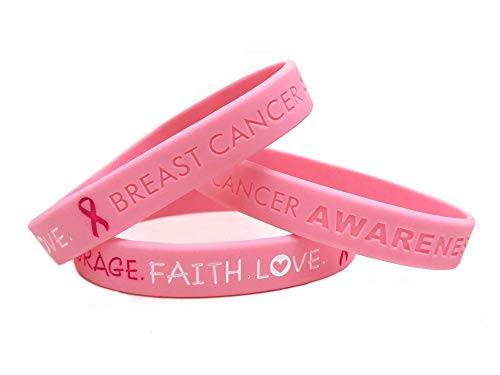 Pink Breast Cancer Awareness Wristband. Hope courage faith love ladies womens bracelet silicone band