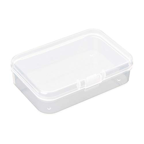 AKOAK Clear Polypropylene Rectangle Mini Storage Containers Box with Hinged Lid,3.54 by 2.46 Inches Storage Containers for Business Card,Accessories,Crafts,Screws,Drills,Battery,Pack of 4