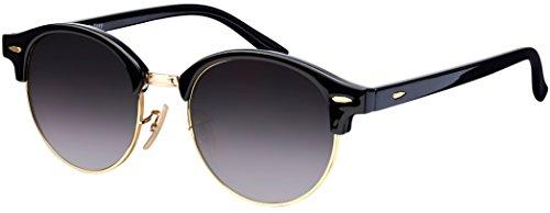 Sonnenbrille Halbrand La Optica UV 400 Unisex Damen Herren Rund Round - Vintage Retro Schwarz Gold (Gläser: Grau Verlaufstönung)