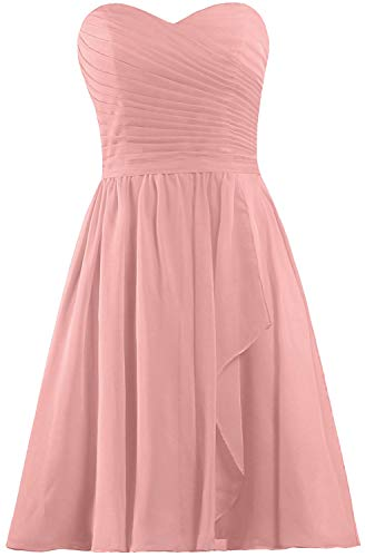 ANTS Women's Sweetheart Short Bridesmaid Dresses Chiffon Wedding Party Dress Size 6 US Blush