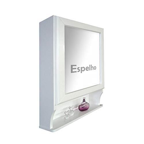 Armário Aéreo para Banheiro com Espelho Retrô - Espelheira - Branco Laca