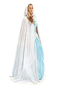 Little Adventures Deluxe Velvet Adult Cloak Cape with Lined Hood  White