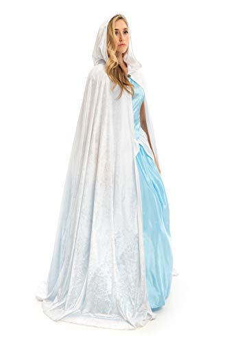 Little Adventures Deluxe Velvet Adult Cloak Cape with Lined Hood (White)