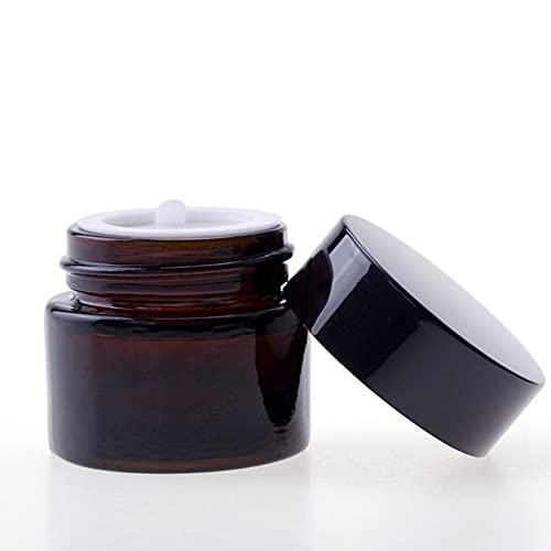 Frasco de Vidrio marrón para Crema Facial cosmética con Tapas y revestimientos Blancos para cremas, lociones y aceites Esenciales, 30 ml