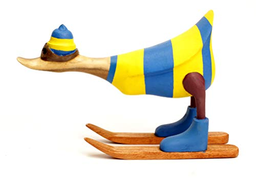Brave Wings Hand Carved and Painted Wooden - Skiing Duck in Ukraine Flag Ski Jacket - Wood Ornament Sculpture Figurine Statue Unique Table Decoration Home Decor Gift for Christmas - 2675