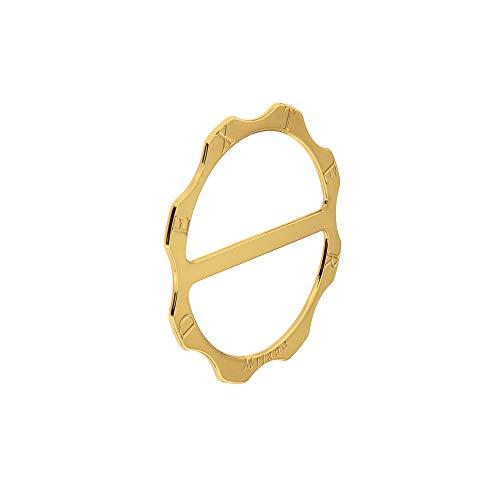 Portatovagliolo Dexter in ottone dorato, portatovagliolo dorato, portatovagliolo artigianale in ottone, segnaposto in ottone a 8 teste mis. 6cm x 6cm realizzato artigianalmente in Italia