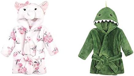 Hudson Baby Girl Plush Animal Face Bathrobe 2-Pack, White Elephant Dinosaur