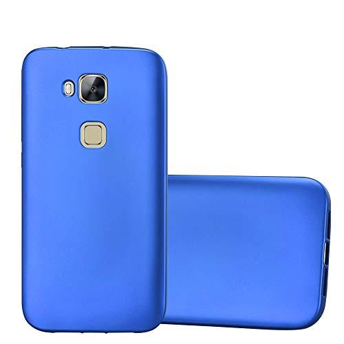 Cadorabo Hülle für Huawei G7 Plus / G8 / GX8 in METALLIC BLAU - Handyhülle aus flexiblem TPU Silikon - Silikonhülle Schutzhülle Ultra Slim Soft Back Cover Hülle Bumper