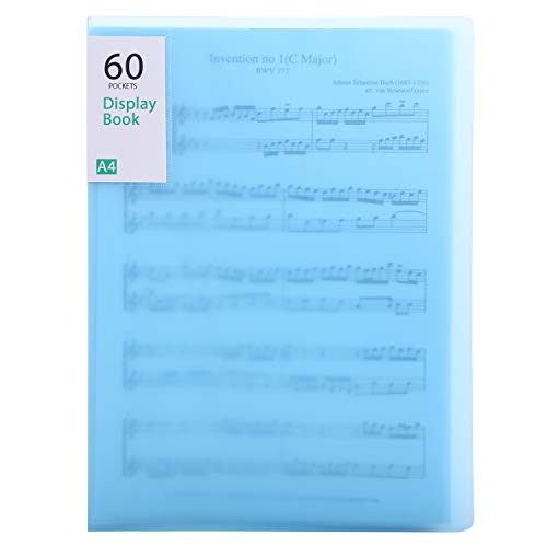 Phyxin 60 Pockets File Folder Plastic Presentation Book Portfolio Folder Clear Sleeves Protectors Display Book Document Organizer for Music Sheets Artwork Drawing for School Office Business Blue
