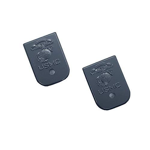 Tek_Tactical 2 X Custom Glock Gen3 and Gen4 Magazine Floor Metal Plate Black USMC Glock 17 19 22 to 39