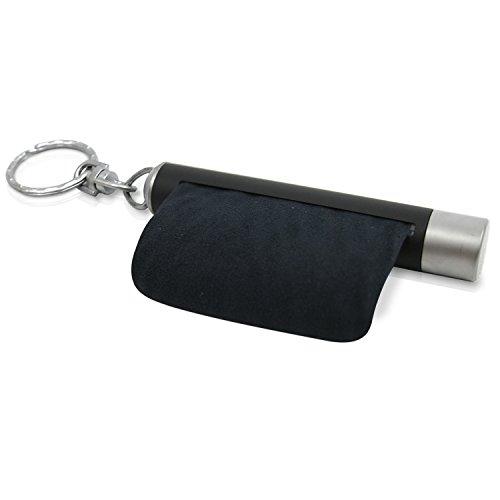 achilles OptoStick, Schlüsselanhänger mit integriertem Mikrofasertuch, Mikrofaser Brillenputztuch, Reinigungstücher, schwarz