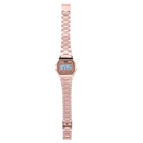 Jadpes Reloj Digital, 3 Colores, luz de Fondo LED Digital Reloj electrónico con Correa de Acero Inoxidable Reloj de Pulsera Rectangular