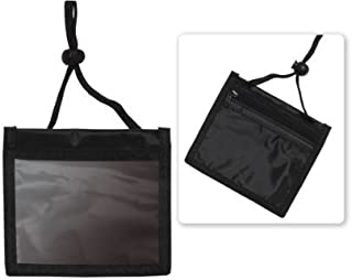Premium Three Pocket Black Credential Wallet Holder w Lanyard by Specialist ID, (1 Sold Individually, Black)
